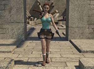 Фото Tomb Raider Tomb Raider Anniversary Пистолет Лара Крофт Девушки 3D_Графика