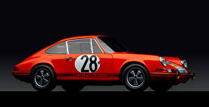 Фотография Ретро Porsche Красные Металлик Черный фон 1968 911 GT-S 2.0 Coupe Автомобили