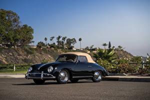 Картинка Винтаж Porsche Черный Металлик 1958-59 356A 1600 Super Cabriolet by Reutter Автомобили