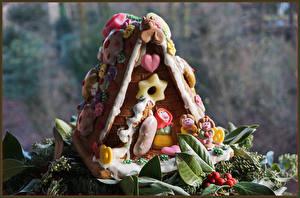Обои Новый год Выпечка Дома Пряничный домик Дизайн Еда