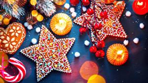 Обои Новый год Печенье Свечи Дизайн Звездочки Еда
