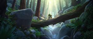 Обои Overwatch Леса Мосты Робот Ствол дерева Игры Фэнтези фото