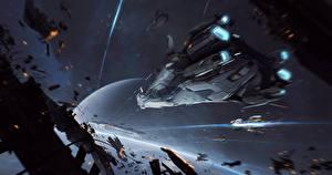 Обои Star Citizen Корабли Битвы Игры Космос Фэнтези фото