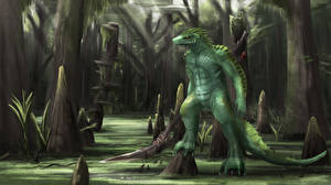 Картинки Монстр Болоте Деревья Фантастика