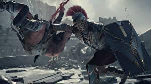 Обои Ryse: Son of Rome Воители Шлем Доспехи Щит Сражение Игры 3D_Графика Фэнтези