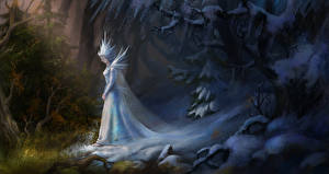 Снег Деревья The Snow Queen Фэнтези Девушки
