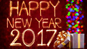 Картинка Новый год 2017 Подарков Бенгальские огни Английская