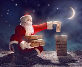 Обои Новый год Полумесяц Дед Мороз Подарки Ночь Луна Крыша фото