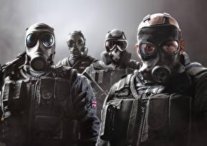Обои Tom Clancy's Rainbow Six: Siege Осада Солдаты Противогаз Игры Армия