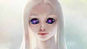 Обои Глаза Лицо Блондинка Инопланетяне Фэнтези фото