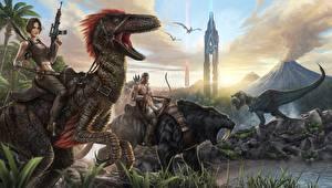Динозавры Воители Древние животные Вулкан ARK Survival Evolved Игры Девушки