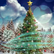 Обои Рождество Елка Ель Шар Звездочки