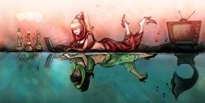 Обои Рисованные Ноутбуки Телевизор Блондинка Отражение Фэнтези Девушки фото