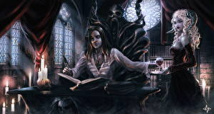 Фотография Вампиры Демоны Свечи Мужчины Книга Бокалы Двое Рога Трон Сидит Фэнтези Девушки