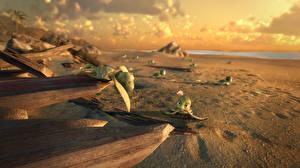 Фото Черепахи Песка Пляжи A Turtle's Tale: Sammy's Adventures 3D_Графика