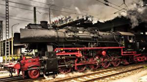 Обои Поезда Ретро Германия Локомотив Черный фото