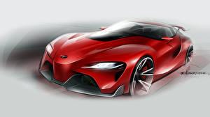 Картинка Рисованные Тойота Красный FT-1 Автомобили