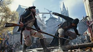 Картинка Assassin's Creed Винтовки Солдаты Assassin's Creed Unity Сабли Сражение Двое Кровь Игры 3D_Графика