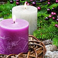 Обои Новый год Свечи Двое Ветки фото