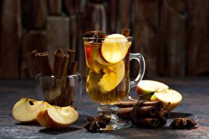 Обои Напитки Яблоки Корица Кружка Еда фото