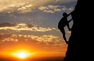 Фотография Рассвет и закат Альпинизм Небо Солнце Силуэт Альпинисты Утес Природа