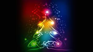 Обои Праздники Новый год Векторная графика Елка фото