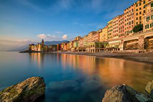 Фотография Берег Здания Море Италия Лигурия Camogli