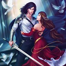 Обои Иллюстрации к книгам Мужчины Двое Мечи Платье Объятие Lancelot, Guinevere Фэнтези фото