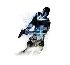 Картинка Пистолеты Мужчины Силуэт Белом фоне Alpha Protocol Игры