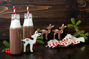 Обои Рождество Напитки Олени Шоколад Горячий шоколад Доски Бутылка Вдвоем Ветвь