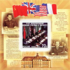 Обои США Англия Франция Почтовая марка Флаг СССР The 70th Anniversary of the International Nuremberg Military Tribunals фото