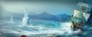 Обои Assassin's Creed 3 Корабли Парусные Море Игры фото