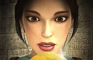 Картинка Tomb Raider Tomb Raider Anniversary Лара Крофт Лицо Взгляд Игры 3D_Графика Девушки