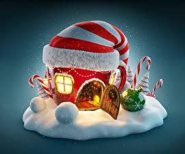 Фото Рождество Здания В шапке Снег Шар Дверь