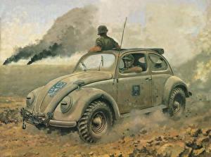 Обои Рисованные Солдаты VW Typ 87 Армия фото