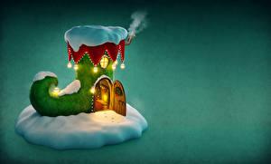 Картинки Рождество Здания Цветной фон Сапоги Снега Дверь