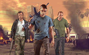 Картинка GTA 5 Мужчины Автоматы Трое 3 Игры