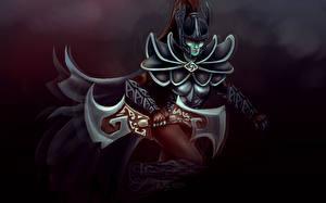 Обои DOTA 2 Phantom assassin mortred Воители Доспехи Шлем Игры Фэнтези Девушки фото