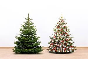 Картинка Рождество Белый фон Елка 2 Электрическая гирлянда Шарики Ель