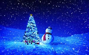Обои Праздники Новый год Елка Снеговики Снег Ночь фото