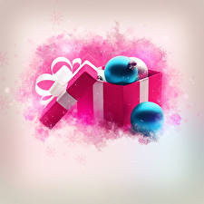 Обои Рождество Коробка Шар Бантик