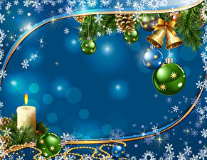 Картинка Новый год Свечи Ветки Шарики Снежинки Колокольчики Шаблон поздравительной открытки