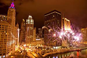 Фотография Дома Фейерверк Америка Ночные Чикаго город Города