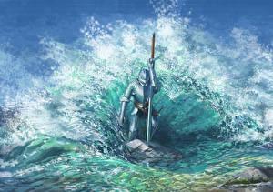 Обои Рыцарь Вода Волны Доспехи Мечи Брызги Фэнтези фото