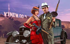 Обои GTA 5 Мужчины Автоматы Двое Шляпа Рыжая Valentine's Day Игры фото