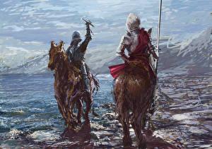 Обои для рабочего стола Средневековье Рыцарь Лошади Две Броня С копьем Фэнтези