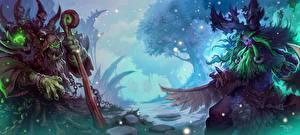 Обои Hearthstone: Heroes of Warcraft Воители Орки Шаман Посохи Двое Thrall vs Malfurion Игры Фэнтези фото