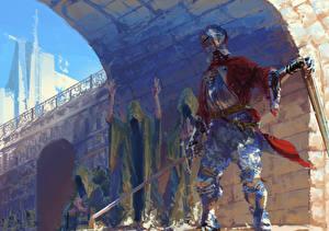 Обои Рыцарь Средневековье Доспехи Мечи Фэнтези фото
