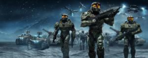 Обои Halo Воители Автоматы Техника Фэнтези Трое 3 Доспехи Wars Игры Фэнтези фото