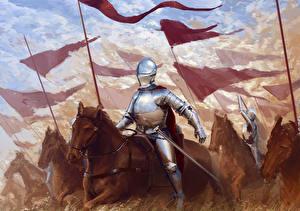 Обои Рыцарь Средневековье Лошади Доспехи Копья Мечи Фэнтези фото